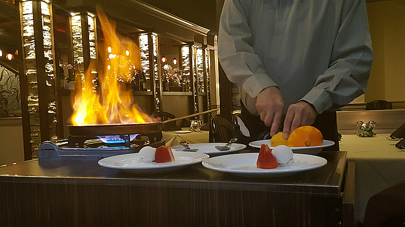 Flaming Dessert at Anton & Michel Restaurant in Carmel By The Sea