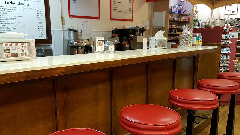Ice Cream Counter at Ingeborg's Danish Chocolate Shop in Solvang, California