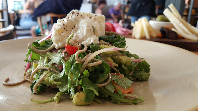 Salad at Happy Hour at The Landsby's Mad & Vin in Solvang