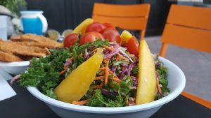 mango salad at Healthy Junk Vegan Restaurant in Anaheim