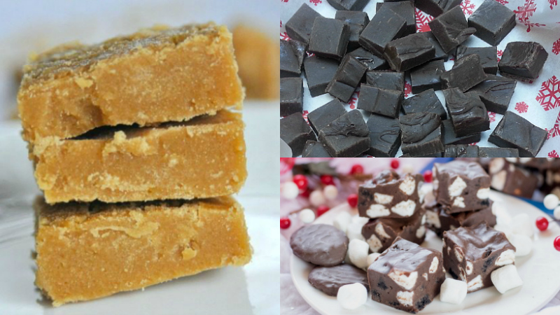 Brown Sugar, Dark Chocolate Hatch Chile and Rocky Road Fudge