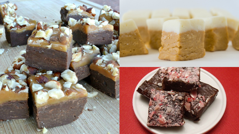 Hazelnut, Butterbeer and Candy Cane Fudge