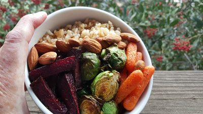 hippie bowl roast veggies almonds