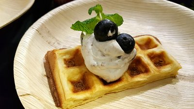 waffles with blueberry whipped cream