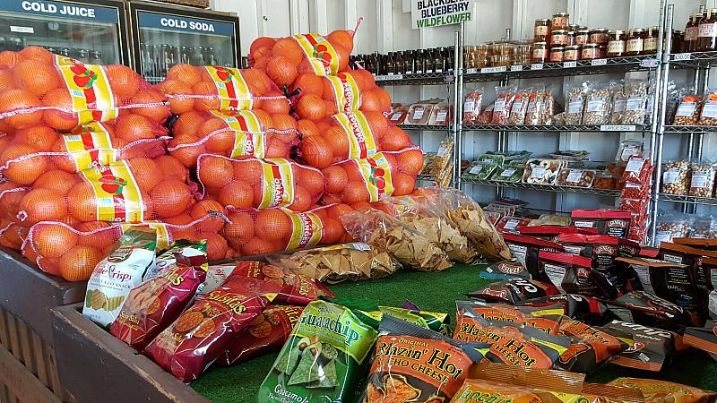 snacks fruit oranges chips store