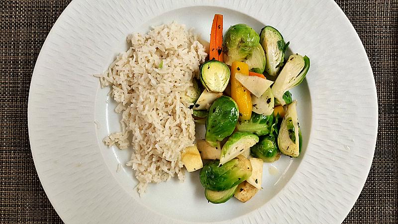 clement coconut rice veggies