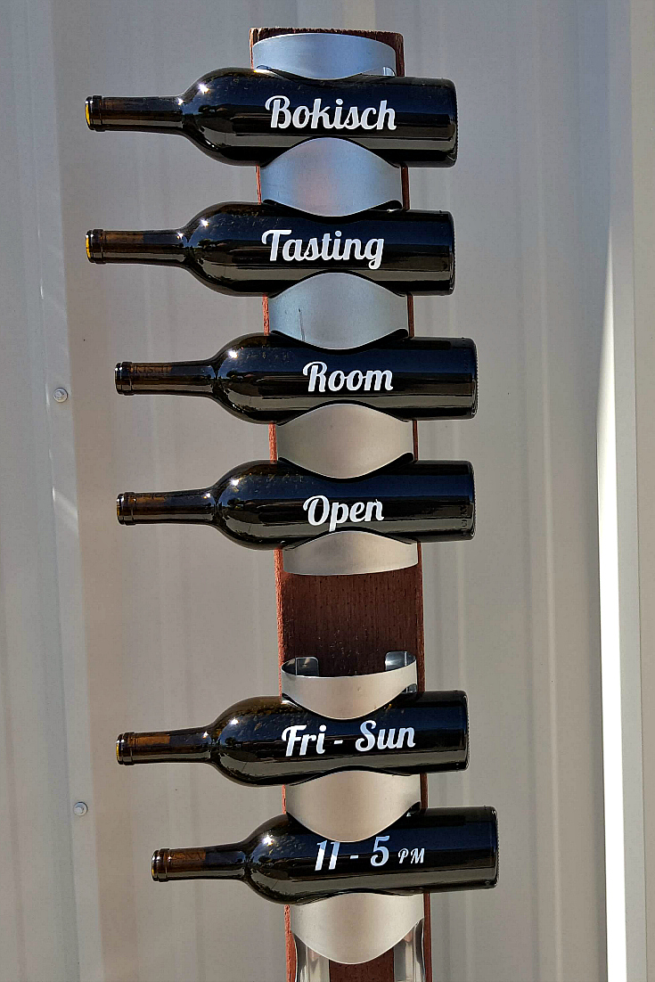 bokisch tasting room wine bottle sign