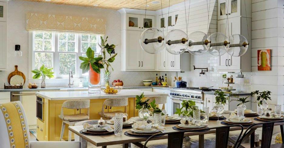 yellow white kitchen
