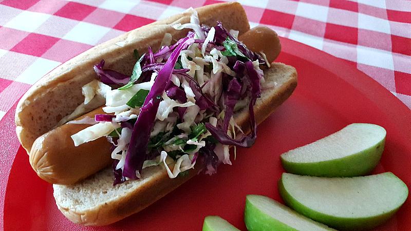 3 vegan hot dog slaw