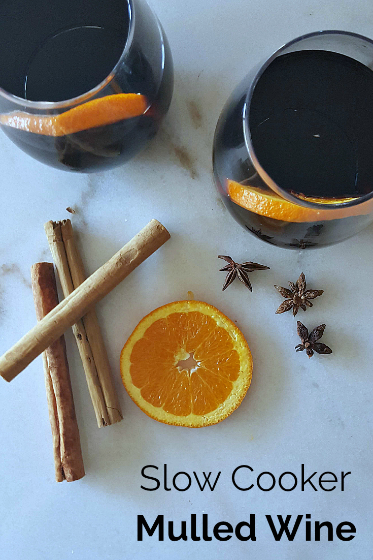 Slow Cooker Mulled Wine Recipe with cinnamon, star anise, oranges and honey
