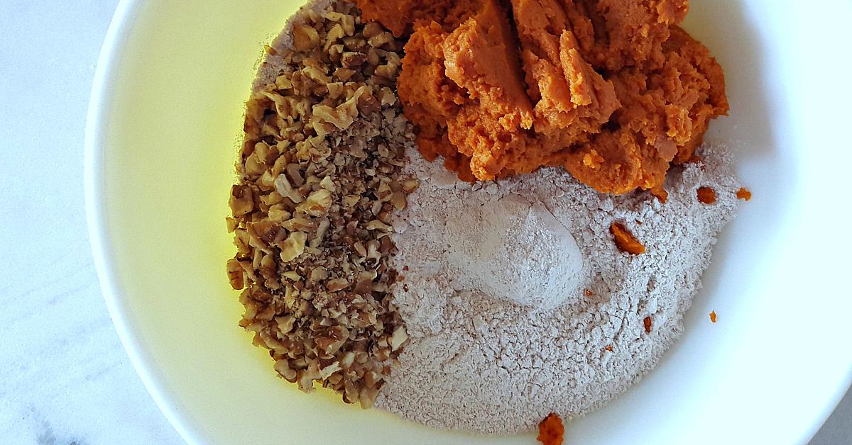 pumpkin bread ingredients bowl