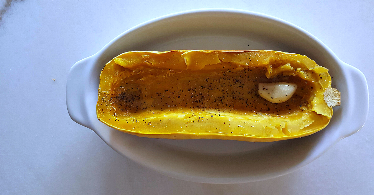3 garlic roasted delicata squash