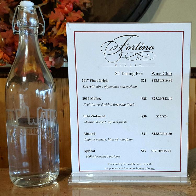 6 fortino winery tasting menu