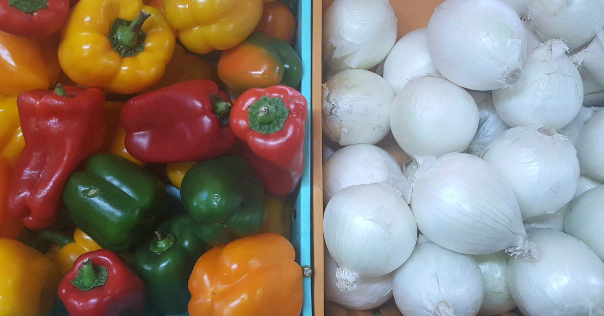 santiagos fruit stand peppers onions