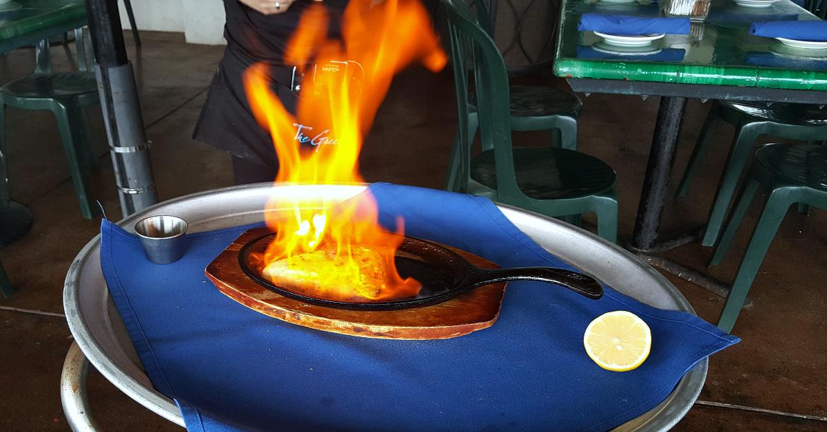 the greek ventura flaming cheese
