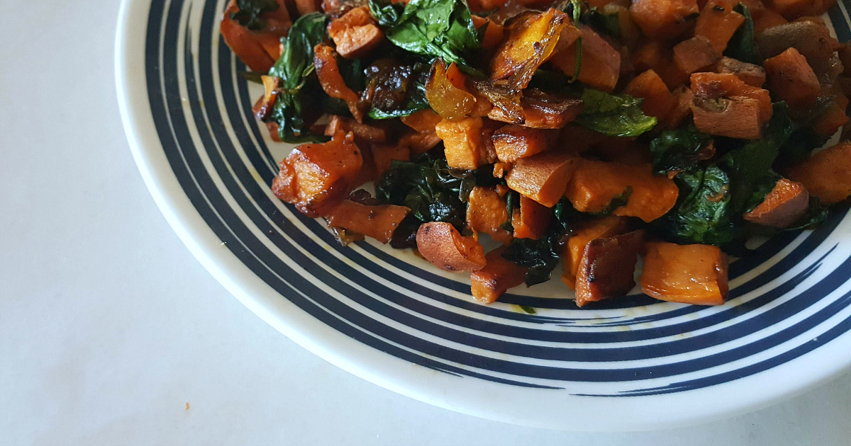 feature sweet potato spinach side dish