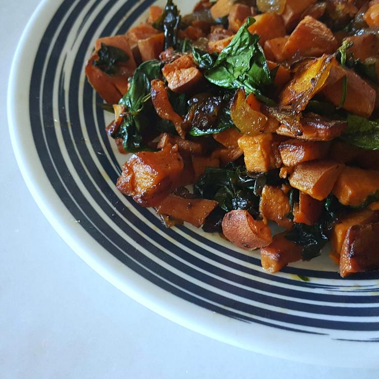 insta sweet potato spinach
