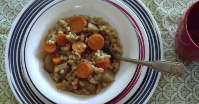 overhead picture of vegan barley stew in bowl