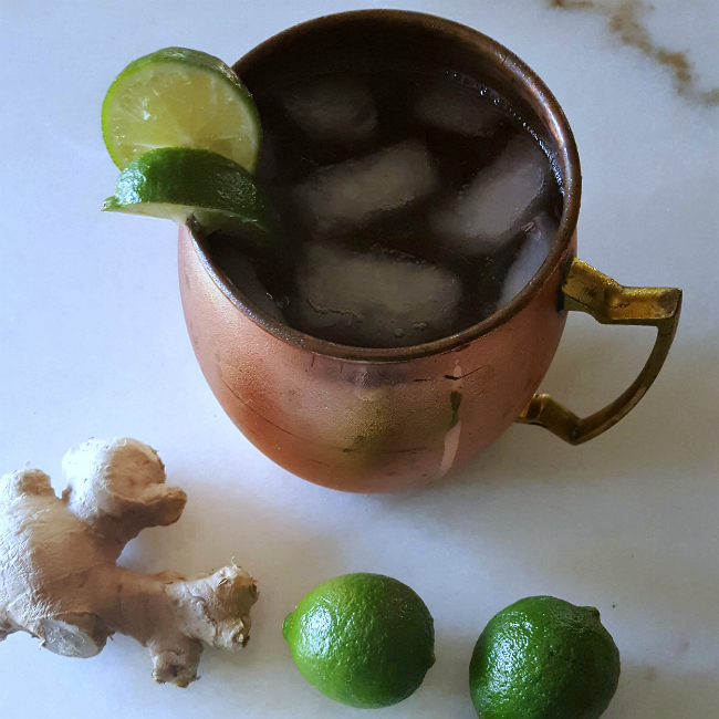 square bourbon mule cocktail