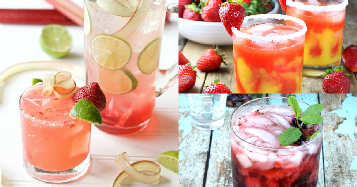 three cocktails made with fresh strawberries