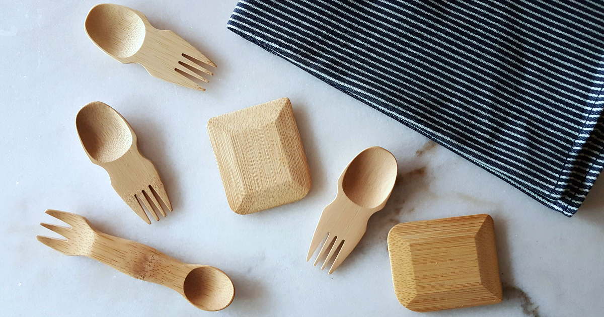 towel and kitchen utensils made from bamboo