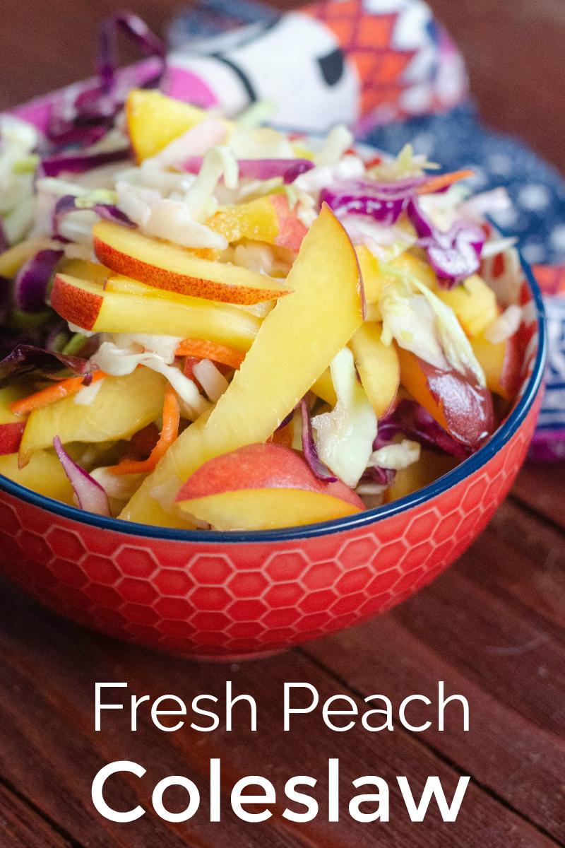 Fresh Peach Coleslaw Recipe - Summer Slaw Salad - No mayo burger, taco, sandwich topping