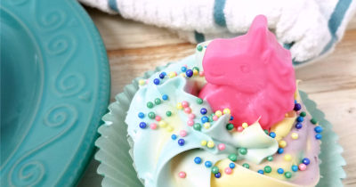 feature unicorn cupcake teal plate and kitchen towel