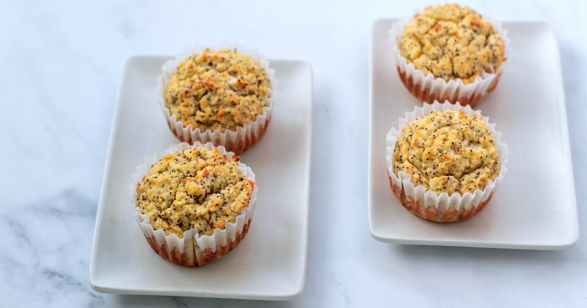 four lemon poppy seed muffins