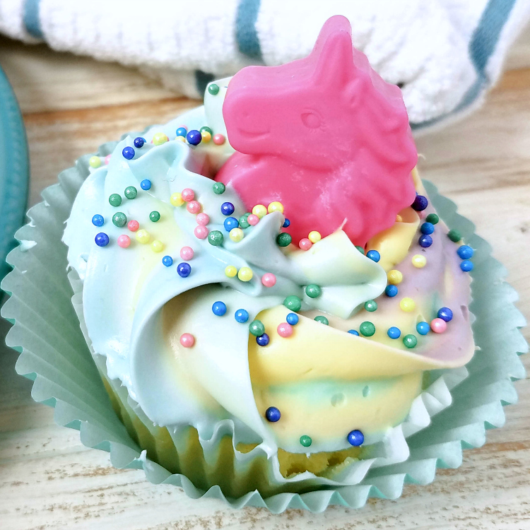insta unicorn cupcake close up
