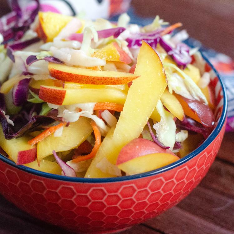 fresh peach coleslaw