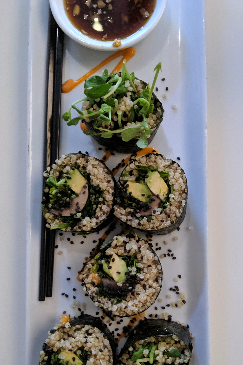 Vegan Quinoa Sushi at Loving Hut Vegan Restaurant in Claremont, California