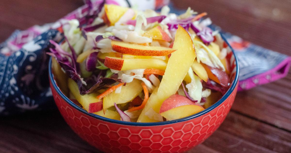 summer salad peach coleslaw