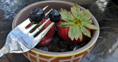 blueberries on fork