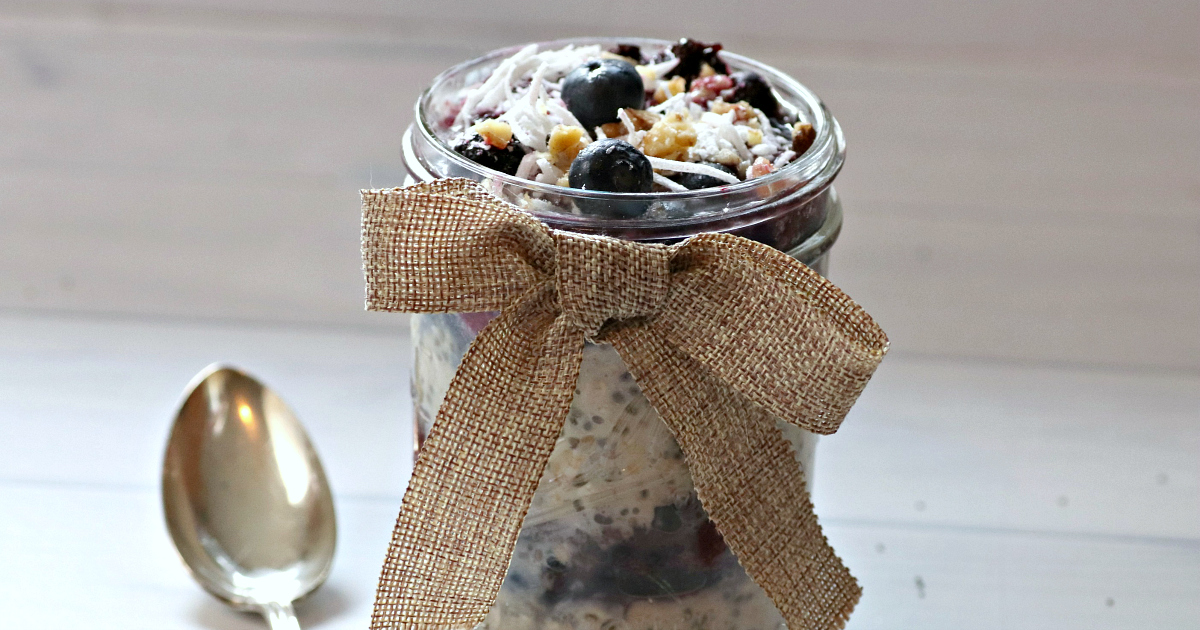 feature layered berry overnight oats