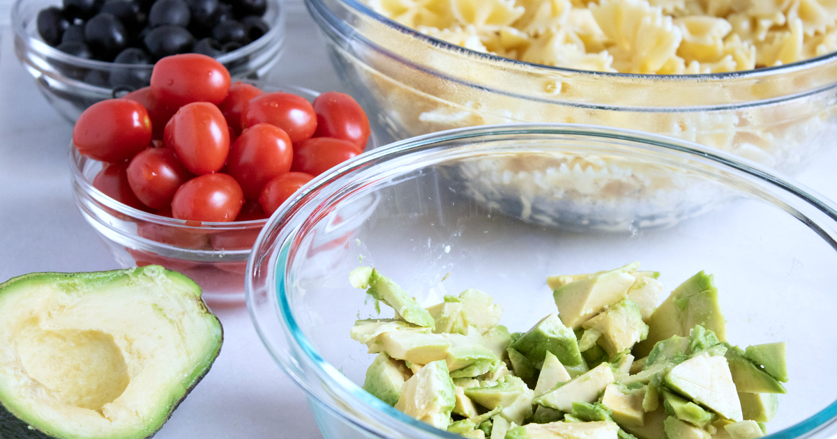 ingredients for avocado pasta salad