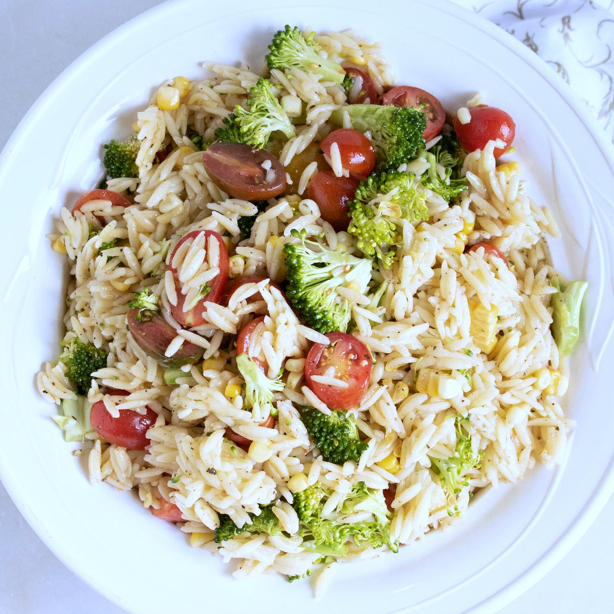overhead orzo salad
