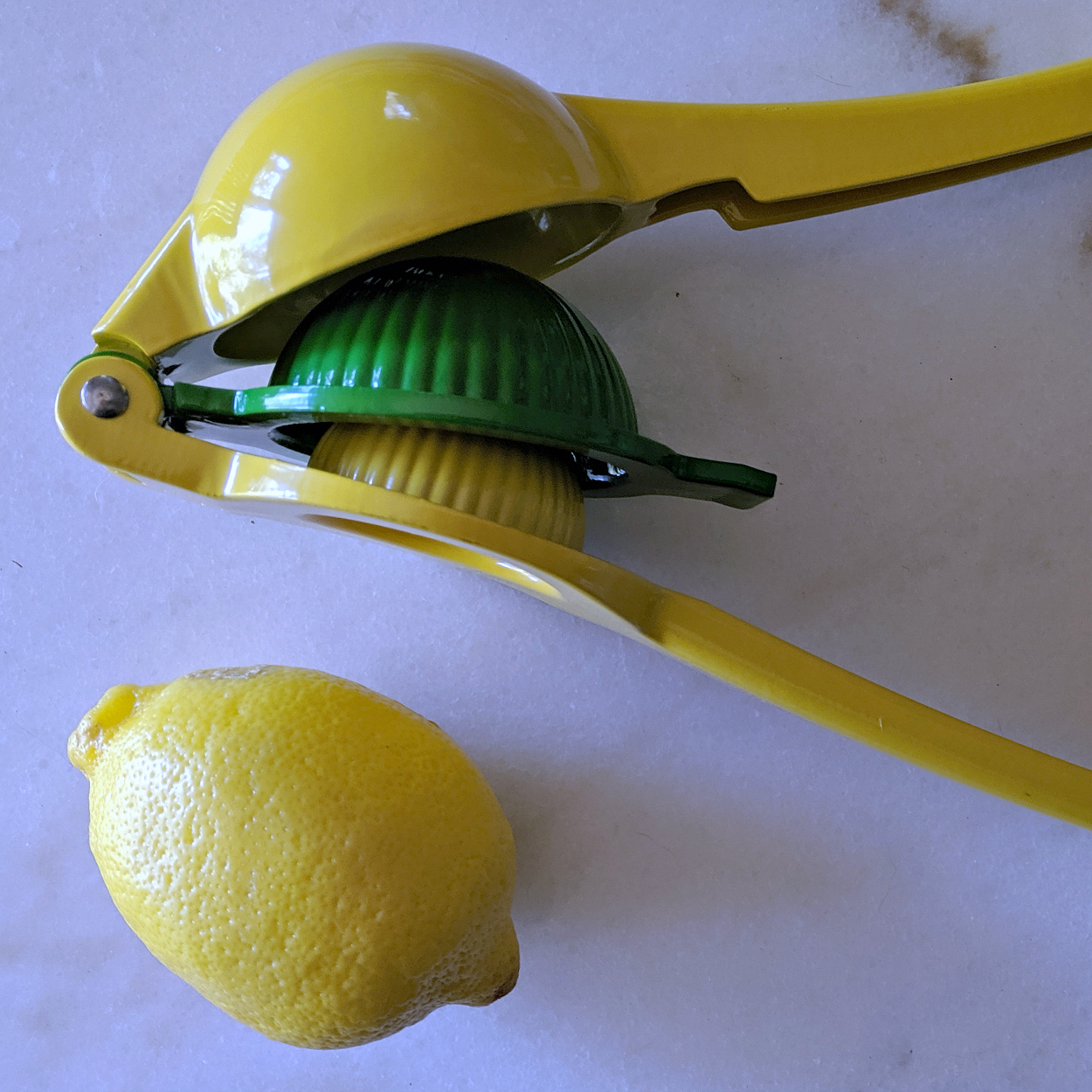 lemon and squeezer on white marble