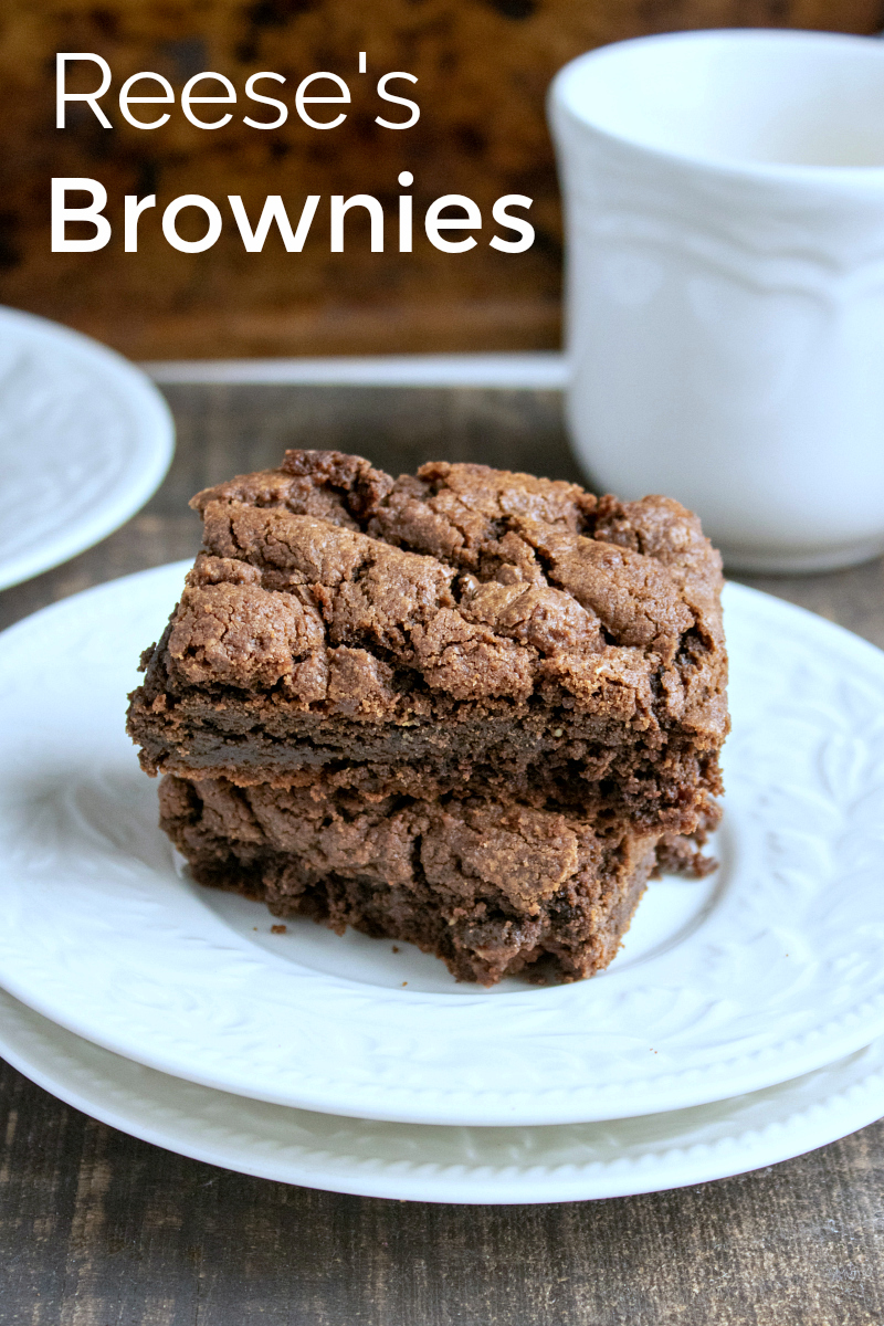 Oh So Delicious Reese's Brownies Recipe made with Reese's Peanut Butter Cups - great for leftover Halloween candy or anytime you want a chocolate peanut butter treat #PeanutButterBrownies #Brownies #LeftoverCandy #Reeses