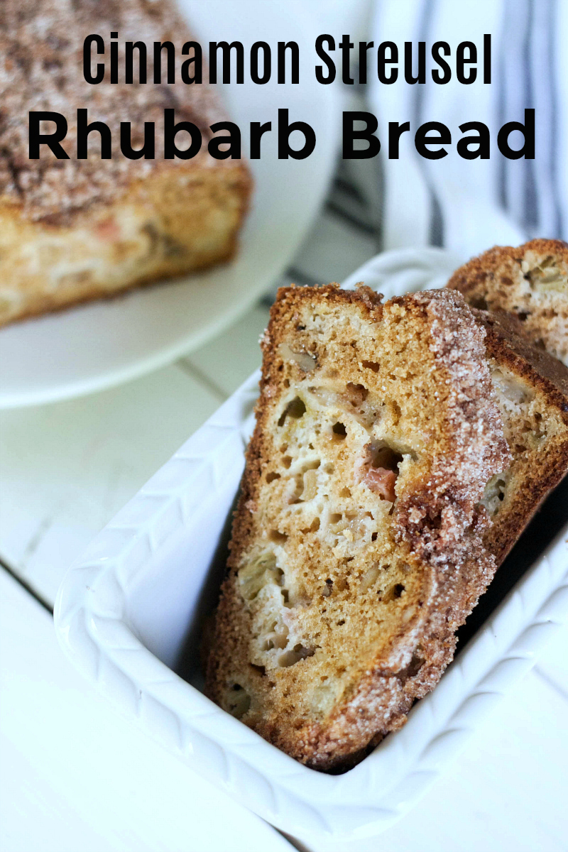 Rhubarb Bread Recipe with a Cinnamon Streusel Topping