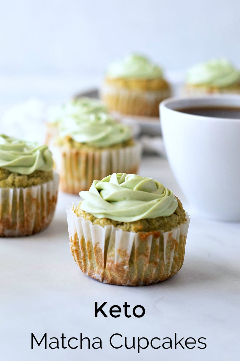 Keto Matcha Cupcake Recipe with Matcha Cream Cheese Frosting - Green Tea Dessert that is sweetened with stevia