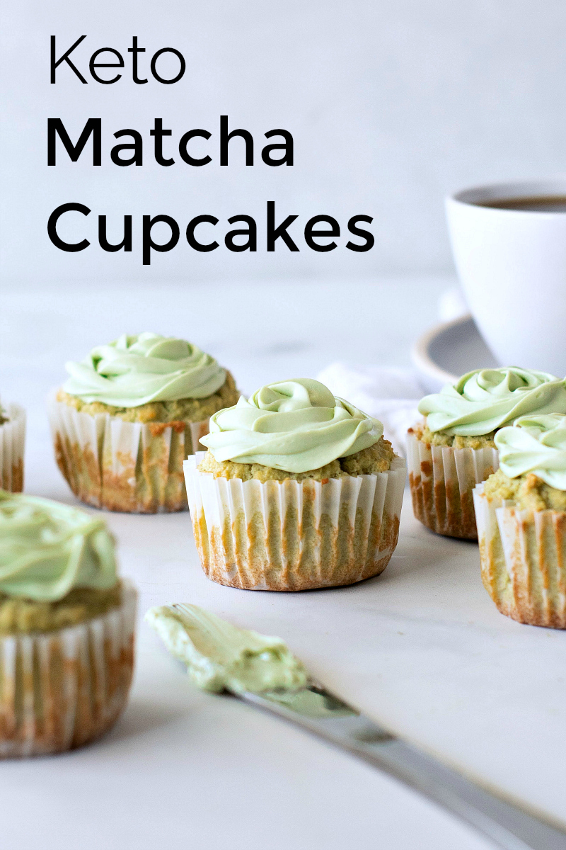 Keto Matcha Cupcake Recipe with Matcha Cream Cheese Frosting - Green Tea Dessert that is sweetened with stevia #Matcha #MatchaRecipes #MatchaCupcakes #GreenTeaCupcakes