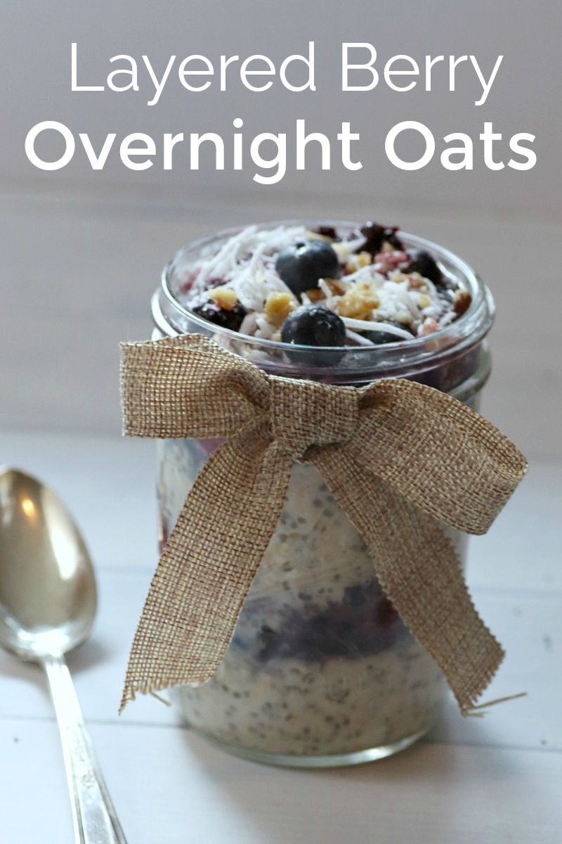 Layered Berry Overnight Oats Recipe - Easy make ahead breakfast in a mason jar