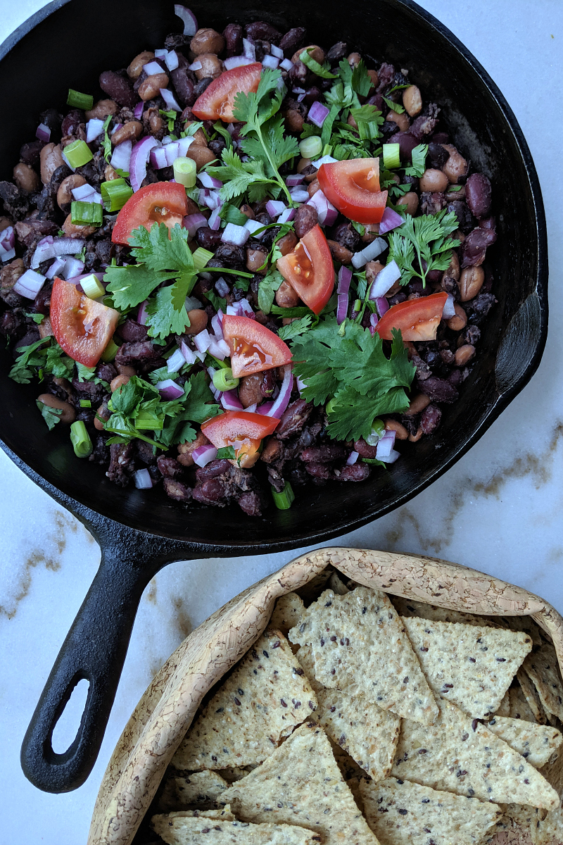 pin vegan mexican skillet and chips