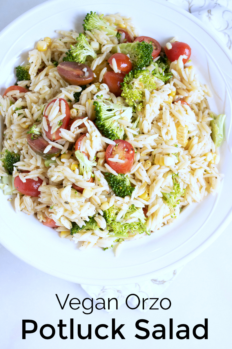 Vegan Orzo Potluck Salad Recipe - Crowd Pleasing Side Dish that is perfect for a picnic, potluck or party