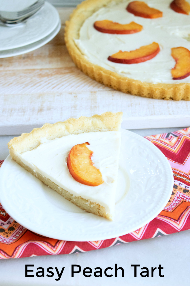 pin with text easy peach tart