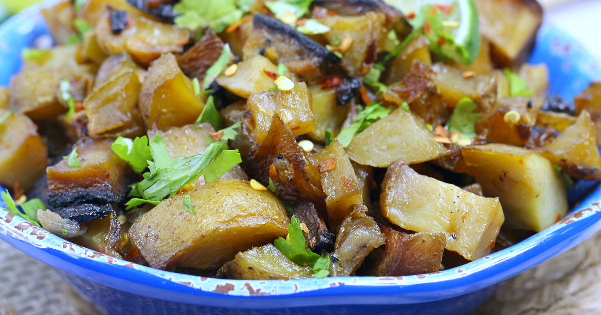 vegetarian cuban potatoes in bowl