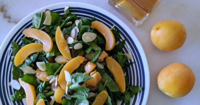 almond apricot salad with balsamic vinegar and apricots