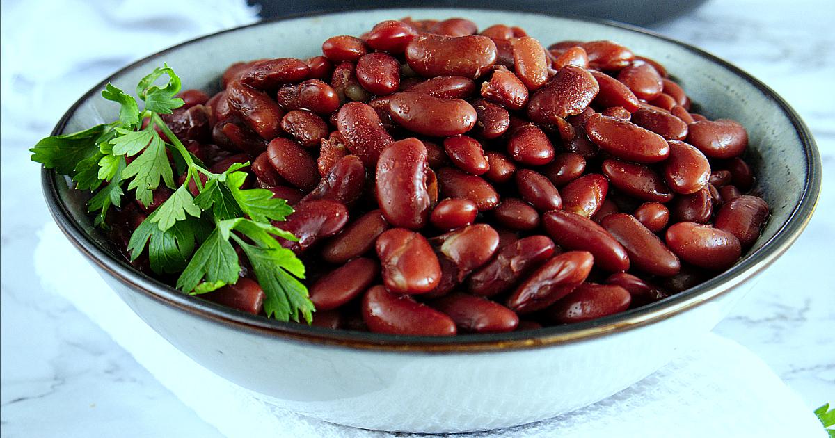 bowl of vegan pressure cooker red beans