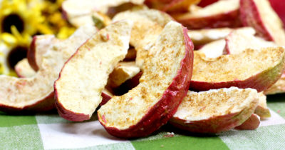 cinnamon apple wedges made in an air fryer