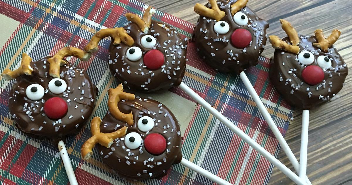 five reindeer oreo pops on plaid background